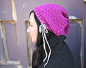The Paris Slouch Hat PURPLE w/ Ribbon Women/Teen - made to order