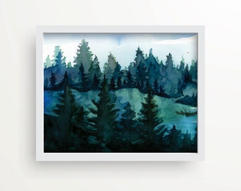 Watercolor forest landscape, holiday print, wall decor, holiday gift, hostess gift, rustic art, cottage decor, rustic pine trees, cabin life