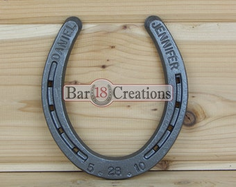 Custom Stamped Horseshoe - personalized 6th or 11th Anniversary Gift, Home Decor, Equestrian, Western