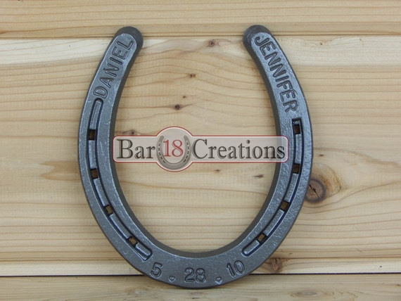 Iron Gifts For 6th Wedding Anniversary: Custom Stamped Horseshoe Personalized 6th Or 11th By