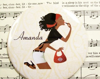 Magnets and Mirrors, Personalized African American Woman Lipstick on the Go Mirror, Lipstick Mirror or Magnet