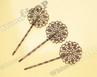10 - Filigree Bobby Pin Blanks and Findings, Copper Color Bobby Pin Blanks,  61mm x 25mm (C1-16)