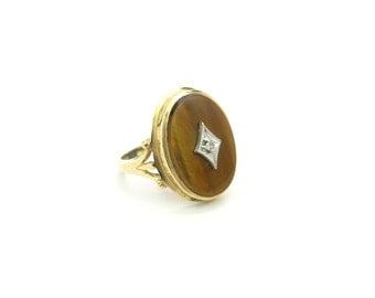 Tigers Eye Ring. 10K Yellow Gold, Oval Quartz Gemstone. Diamond Accent. Size 8.75. Vintage 1950s Late Art Deco Gemstone Jewelry.