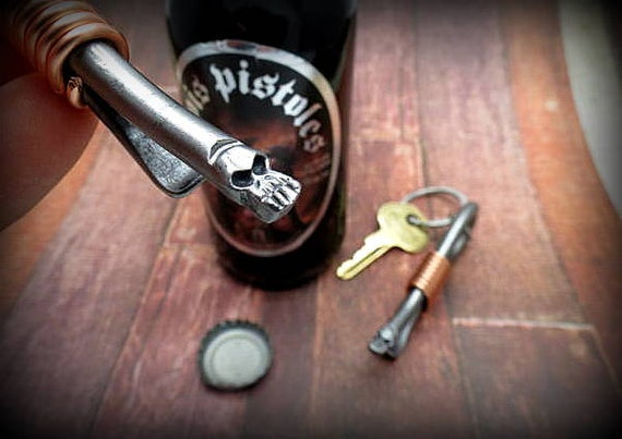 MINI SKULL KEYCHAIN Bottle Opener - Hand Forged and Signed by Blacksmith Naz - Gifts for Groomsmen - Gift for Man Men Boyfriend Brother