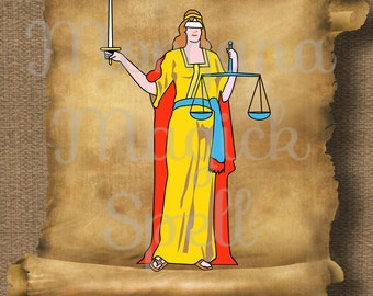 JUSTICE GODDESS  Royalty Free Clipart Illustration Wiccan Digital Image Download Printable Graphic Clip Art Transfers Prints
