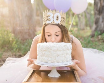 Birthday Lace Crown || Kaily || 21st 30th 40th Birthday || FULL SIZE gold lace crown || photography prop|| Adult Cake Smash|| custom sizes