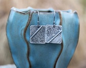 Silver Earrings. Fold-Formed Silver Earrings. Hand Cut Fine Silver (.999) Rectangles. Folded, Annealed, Hammered, Oxidized. 3D. Shabby Chic!