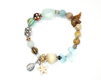 Starfish Beach Glass Bracelet, Sea Bracelet, Beach Bracelet, Ocean Bracelet, Beach Jewelry, Starfish Jewelry, Sea Glass Bracelet / Jewelry