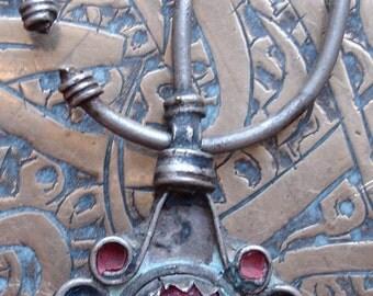 Moroccan red jewel enamel fibula pendant brooch