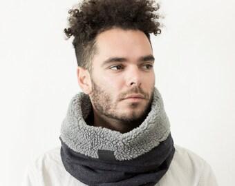 mens scarf, tube scarf, loop scarf, wool cowl, Snock® in dark navy tweed wool