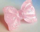 Sweet Lolita Bow Ring - Pink, Pastel, Glitter Flakes, Resin, Kawaii, Sparkle, Holographic, Summer