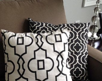 White & Black Bordeaux Print Accent Pillow Cover