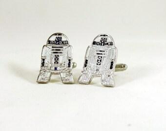 Mens Silver Cufflinks,  Star Wars R2D2, Enameled  Mens Accessories