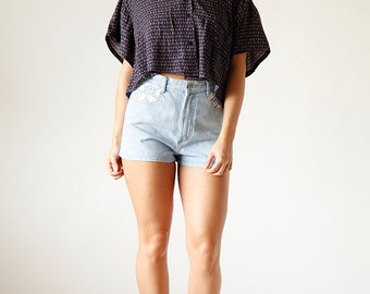 Overisized Slouchy Navy Crop Top - Size All