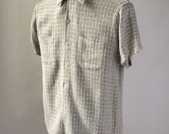 Mort Wallin 1950s Grey & White Gabardine Chin Loop Rockabilly Short Sleeve Button Down Shirt