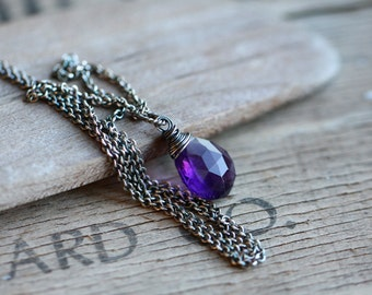Amethyst Necklace, Amethyst Sterling Silver Necklace, Birthstone Necklace, Wire Wrapped Amethyst, February Birthstone, Spring Fashion
