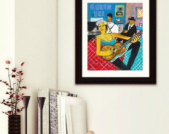 queen bee- blues queen-blues print-music woman-art print-woman music paint-blues woman