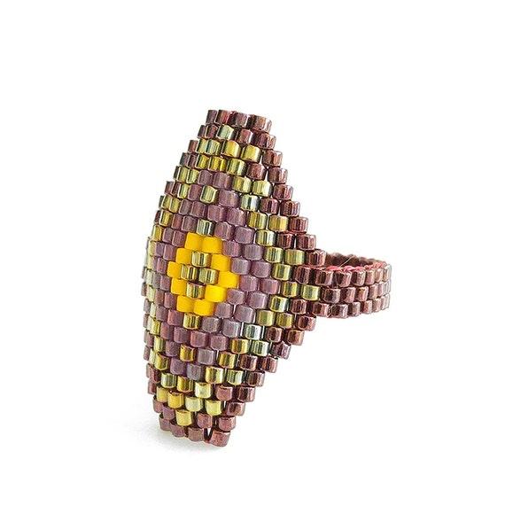 Metallic Red Hexagon Ring, Hexagon Statement Ring, Yellow Diamond, Geometric Ring, Egyptian Style, Luxe, BIthiah, OOAK