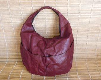 Vintage Burgundy Leather Hand Bag Shoulder Bag Oval