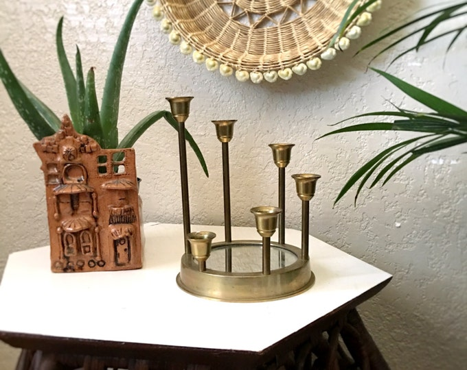 Vintage Brass Circle Tulip Candlestick Holder with Mirror Base