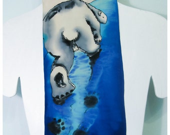 "Painted silk scarf. Polar Bear Silk Scarf. Hand painted silk scarf. 8""x52"" crepe silk. Handpainted silk scarf. Handpainted silk scarves"