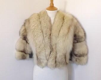 Vintage real arctic polar fox fur short coat bolero jacket wrap cream silver grey size S to M UK 8 10 12