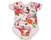 Floral Baby Girl Onesie , Organic Baby Girl Clothes ,  Preemie Onesie , Baby Girl Gift  , Newborn Girl Clothes , Neborn Girl Onesie