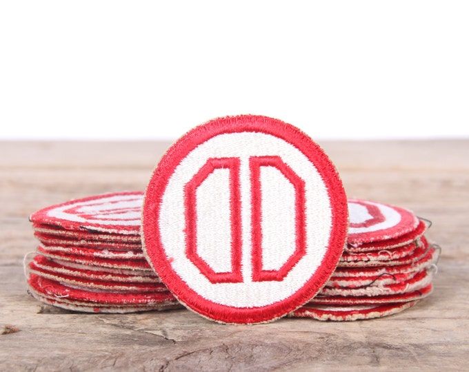 Military Patches / WWII U.S. 31st Infantry Division Patch / Red and White Military Patch / Vintage Patches / Grunge Patches / Punk Patches