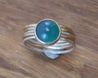 Green Onyx Stacking Ring Set in Silver & Gold, Hand Made, Barely There, 5x Rings