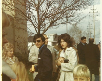 """Vintage Snapshot """"Joe Cool"""" Handsome Man in Sunglasses Holding Cigarette - Onlookers Out Of Frame - Color Found Vernacular Photo"""