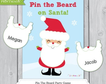 Pin the Beard on Santa Jolly Santa Printable Party Game - Christmas Game - 3 Sizes - Christmas Party Game - Kids Christmas Game