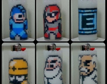 Mega Man Perler Bead LIGHTER CASE - proto man - dr light - dr wily - energy tank