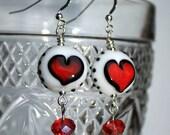 White Lampwork Heart Earrings - Valentine's Day, Heart Jewelry, Love Jewelry