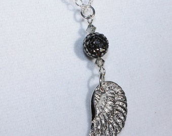 Pave Crystal and Wing Charm Necklace - Angel Wing Pendant