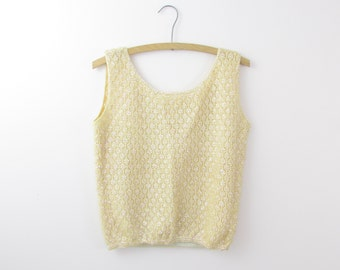 Moonglow Beaded Top - Vintage 1950s Sequined Sleeveless Knit Shell in Pastel Yellow - Small