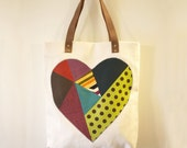 Organic Cotton Tote Bag with leather handles - geometric patchwork heart, up-cycled fabric
