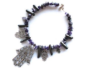 Statement Amethyst Necklace // Hamsa Hand Necklace // Purple Crystal Necklace // Black Crystal Necklace