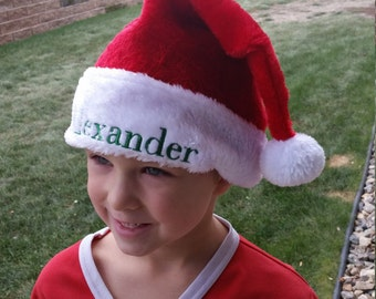 Personalized Santa Hat - Christmas Hat - Red and White