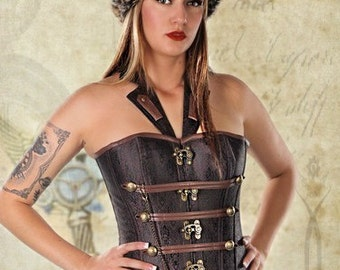 New Steampunk Corset halter corset brown corset summer halter top