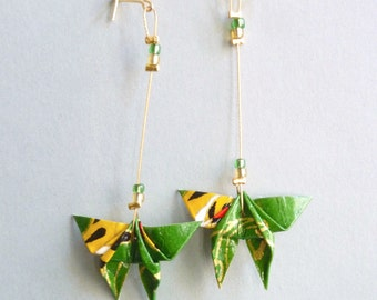 Green, yellow and gold Butterfly Origami earrings