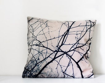 Tree branches decorative pillow cover. Neutral home decor with rustic design, abstract pattern. Woodland gift idea.