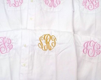 Bridesmaid Monogrammed Shirts, Set of 3 Oversized Button Down Shirts, Personalized Bridesmaid Gifts