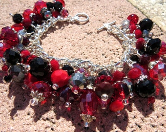 RED and BLACK ATTACK Deep Red, Black and Silvers Charm Bracelet ooak