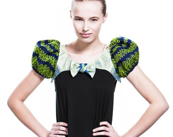 Short bolero with puff sleeves made of traditional burmese fabric, green - blue - SALE!