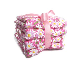 baby girl wash cloth - wash cloth sets - pink daisy wash cloths - girls wash cloths - children - ladies facial cloths - wash rags for kids