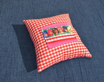 Strawberry Shortcake and Friends ribbon inspired Tooth Fairy Pillow, money holder gift girls red pink blue yellow orange gingham corduroy