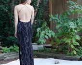 Vintage 90s Maxi Dress - Black Silver & Gold Metallic - Open Back Sexy Body Con S/M