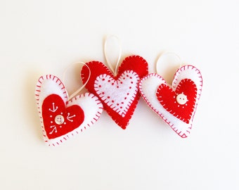 diy valentine decor, valentine embroidery kit, diy valentines, craft kit, valentine heart, felt heart ornament, felt hearts, valentines day