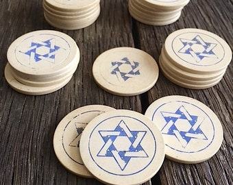 ON SALE - Jewish Star Poker Chips - 24 Blue And White Jewish Star Poker Chips - Vintage Poker Chips - Star Of David Texas Hold Em Chips