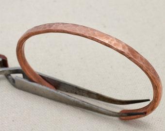 Cuff Bracelet Hammered Copper Rustic Minimalist Bare Metal No Finish Men or Women #CB105